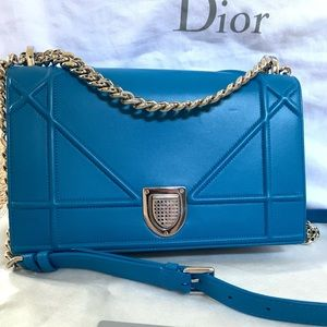 DIOR 👑 $3670 Diorama Medium Flap Silver Bag Blue